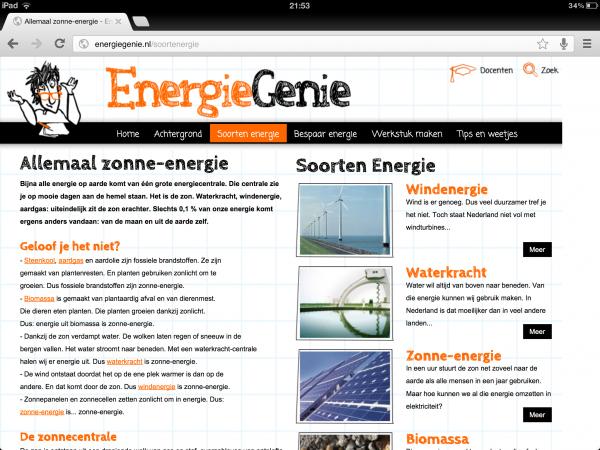 Tekstschrijver webteksten educatieve website EnergieGenie